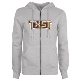 ENZA Ladies Grey Fleece Full Zip Hoodie-TXST Texas State
