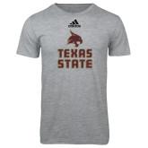 Adidas Sport Grey Logo T Shirt-Texas State Logo Stacked