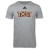 Adidas Sport Grey Logo T Shirt-TXST Texas State