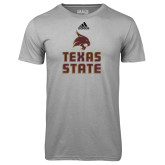 Adidas Climalite Sport Grey Ultimate Performance Tee-Texas State Logo Stacked