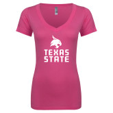 Next Level Ladies Junior Fit Ideal V Pink Tee-Texas State Logo Stacked