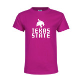 Youth Cyber Pink T Shirt-Texas State Logo Stacked