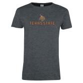 Ladies Dark Heather T Shirt-Texas State Secondary