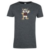 Ladies Dark Heather T Shirt-Bobcat Mascot
