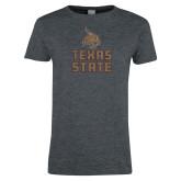 Ladies Dark Heather T Shirt-Texas State Distressed