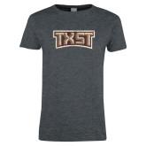 Ladies Dark Heather T Shirt-TXST Distressed