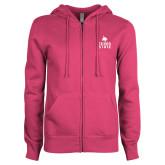 ENZA Ladies Fuchsia Fleece Full Zip Hoodie-Texas State Logo Stacked