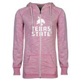 ENZA Ladies Hot Pink Marled Full Zip Hoodie-Texas State Logo Stacked