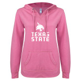 ENZA Ladies Hot Pink V Notch Raw Edge Fleece Hoodie-Texas State Logo Stacked