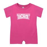 Bubble Gum Pink Infant Romper-TXST Texas State