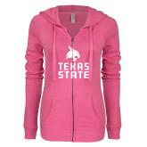 ENZA Ladies Hot Pink Light Weight Fleece Full Zip Hoodie-Texas State Logo Stacked