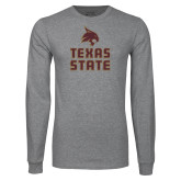 Grey Long Sleeve T Shirt-Texas State Logo Stacked