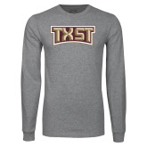 Grey Long Sleeve T Shirt-TXST Texas State