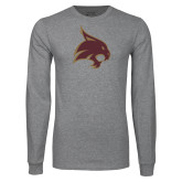 Grey Long Sleeve T Shirt-Bobcat Logo
