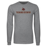Grey Long Sleeve T Shirt-Texas State Secondary