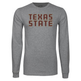 Grey Long Sleeve T Shirt-Texas State Stacked