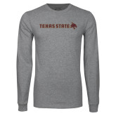 Grey Long Sleeve T Shirt-Texas State Horizontal