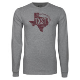 Grey Long Sleeve T Shirt-TXST Eat em up Cats