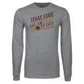 Grey Long Sleeve T Shirt-Eat em up Cats