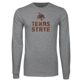 Grey Long Sleeve T Shirt-Texas State Distressed