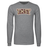 Grey Long Sleeve T Shirt-TXST Distressed