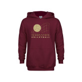 Youth Maroon Fleece Hoodie-Texas State Volleyball