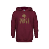 Youth Maroon Fleece Hoodie-Texas State Logo Stacked