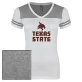 Ladies White/Heathered Grey Juniors Varsity V Neck Tee-Texas State Logo Stacked