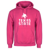 Fuchsia Fleece Hoodie-Texas State Logo Stacked