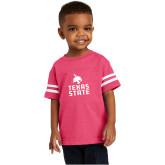 Toddler Vintage Hot Pink Jersey Tee-Texas State Logo Stacked
