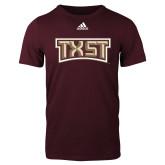 Adidas Maroon Logo T Shirt-TXST Texas State