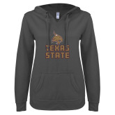 ENZA Ladies Dark Heather V Notch Raw Edge Fleece Hoodie-Texas State Logo Stacked