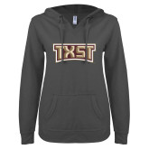 ENZA Ladies Dark Heather V Notch Raw Edge Fleece Hoodie-TXST Texas State