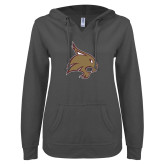 ENZA Ladies Dark Heather V Notch Raw Edge Fleece Hoodie-Bobcat Logo