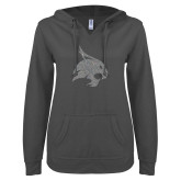 ENZA Ladies Dark Heather V Notch Raw Edge Fleece Hoodie-A Silver Soft Glitter