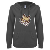 ENZA Ladies Dark Heather V Notch Raw Edge Fleece Hoodie-Mascot Head