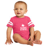 Vintage Hot Pink Jersey Onesie-Texas State Logo Stacked