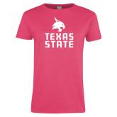 Ladies Fuchsia T Shirt-Texas State Logo Stacked