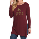 Ladies Maroon Side Slit Tunic-Texas State Logo Stacked