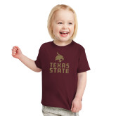 Toddler Maroon T Shirt-Texas State Logo Stacked