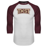 White/Maroon Raglan Baseball T Shirt-TXST Texas State