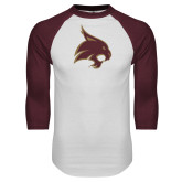 White/Maroon Raglan Baseball T Shirt-Bobcat Logo