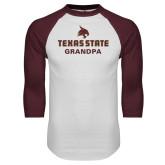 White/Maroon Raglan Baseball T Shirt-Grandpa