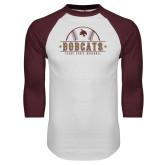 White/Maroon Raglan Baseball T Shirt-Bobcats Baseball