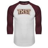 White/Maroon Raglan Baseball T Shirt-TXST Distressed