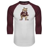 White/Maroon Raglan Baseball T Shirt-Mascot
