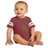 Vintage Maroon Jersey Onesie-Texas State Logo Stacked