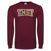 Maroon Long Sleeve T Shirt-TXST Distressed