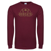 Maroon Long Sleeve T Shirt-Bobcats Baseball