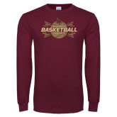 Maroon Long Sleeve T Shirt-Bobcats Basketball